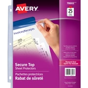 Avery® Diamond Clear Secure Top Sheet Protectors, Diamond Clear, 25/Pack, (78602)