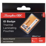 "GBC HeatSeal UltraClear Thermal Laminating Pouches, ID Badge, 5 mil, 2.6"" x 3.9"", 100/Pack (56005)"