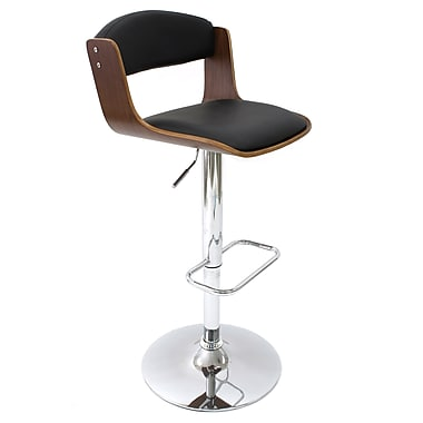 Cathay Importers Walnut Bentwood Black Faux Leather Swivel Counter/ Bar Stool With Chrome Base 18.5