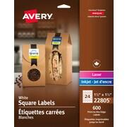Avery® - N° 22805, Étiquettes carrées blanches, pour impression jusqu'au bord, permanentes, 1 1/2 po x 1 1/2 po