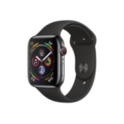 Apple Watch Series 4, 44mm, GPS + Cellular, Space Black Stainless Steel Case with Black Sport Band