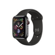 Apple – Montre Apple Watch série 4, 44 mm, GPS + cellular, acier inox noir cosmique avec bracelet sport noir