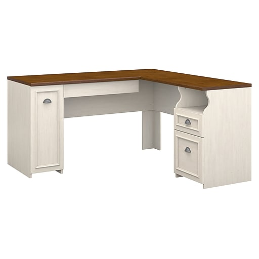 Bush Furniture Fairview L Shaped Desk Antique White Tea Maple Wc53230 03k Rollover Image To Zoom In S Staples 3p Com S7 Is