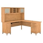 Bush Furniture Somerset 72W L Shaped Desk with Hutch, Maple Cross (SET001MC)