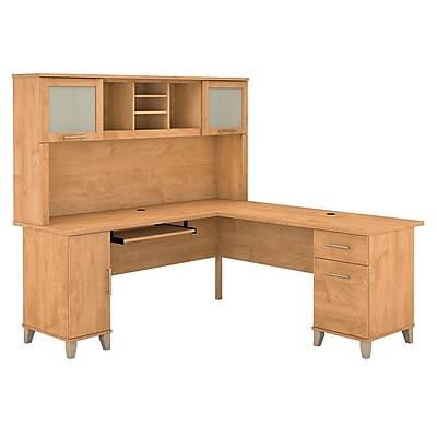 Bush Furniture Somerset 72W L Shaped Desk with Hutch, Maple Cross (SET001MC)