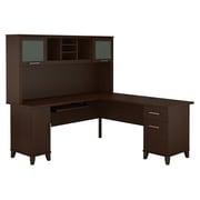 Bush Furniture – Bureau en L de 71 po de large avec étagère, collection Somerset, fini cerisier moka