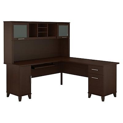 Bush Furniture Somerset 72W L Shaped Desk with Hutch, Mocha Cherry (SET001MR)