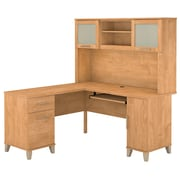 "Bush Furniture Somerset 60""W L Shaped Desk with Hutch, Maple Cross (SET002MC)"