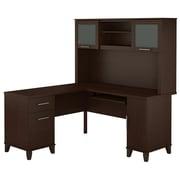 Bush Furniture – Bureau en L de 60 po de large avec étagère, collection Somerset, fini cerisier moka
