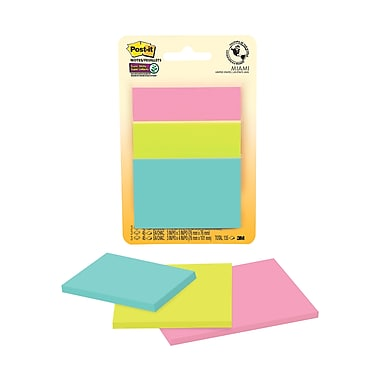 Post-it® Super Sticky Notes, Miami Collection, Assorted Sizes, 45 Sheets/Pad, 3 Pads/Pack