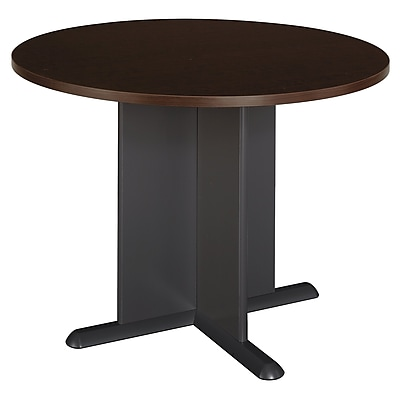 Bush Business Furniture 42 Inch Round Conference Table, Mocha Cherry/Graphite Gray, Installed (TB12942AFA)