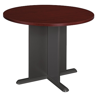 Bush Business Furniture 42 Inch Round Conference Table, Mahogany/Graphite Gray (TB36742A)