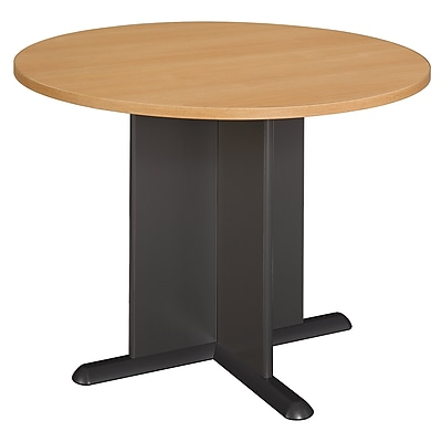Bush Business 36W Square Conference Table with Metal Disc Base, Natural Maple, Installed