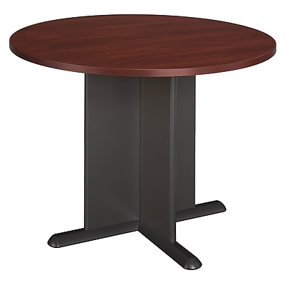 Bush Business 36W Square Conference Table with Wood Base, Modern Cherry