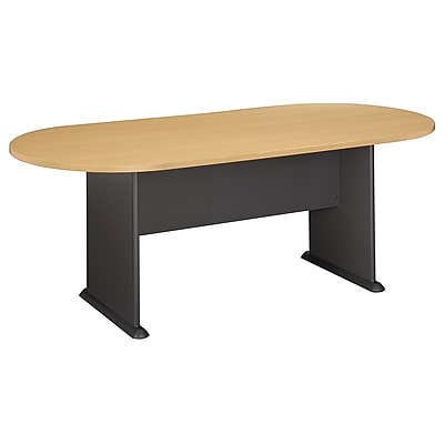 Bush Business Furniture 82W x 35D Racetrack Oval Conference Table, Beech/Graphite Gray, Installed (TR14384AFA)