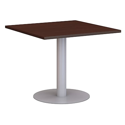 Bush Business 36W Square Conference Table with Metal Disc Base, Harvest Cherry