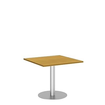 Bush Business 36W Square Conference Table with Metal Disc Base, Modern Cherry