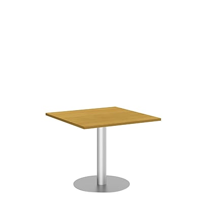 Bush Business 36W Square Conference Table with Metal Disc Base, Modern Cherry, Installed