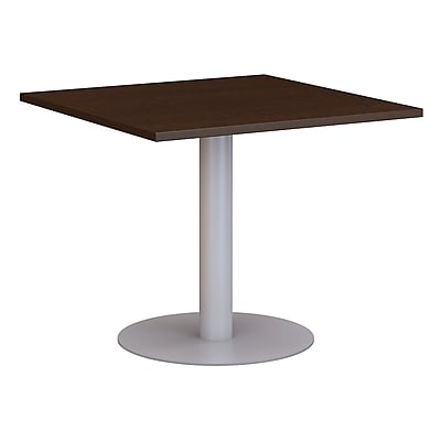 Bush Business 36W Square Conference Table with Metal Disc Base, Mocha Cherry