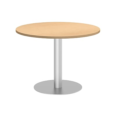 Bush Business 42W Round Conference Table with Metal Disc Base, Natural Maple, Installed