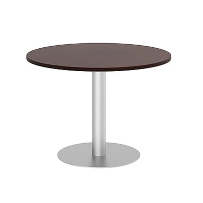 Bush Business 42W Round Conference Table with Metal Disc Base, Harvest Cherry, Installed