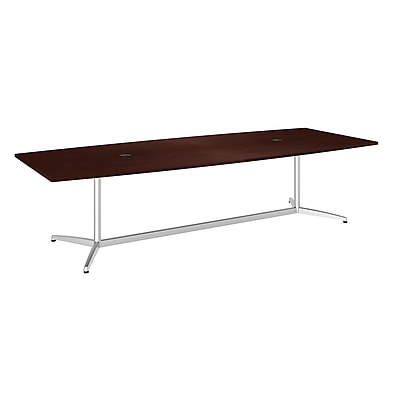 Bush Business 120L x 48W Boat Top Conference Table with Metal Base, Harvest Cherry, Installed