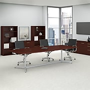 Bush Business Furniture 120L x 48W Boat Top Conference Table with Metal Base, Harvest Cherry