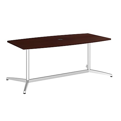 Bush Business 72L x 36W Boat Top Conference Table with Metal Base, Harvest Cherry