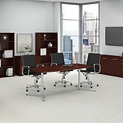 Bush Business Furniture 72L x 36W Boat Top Conference Table with Metal Base, Harvest Cherry