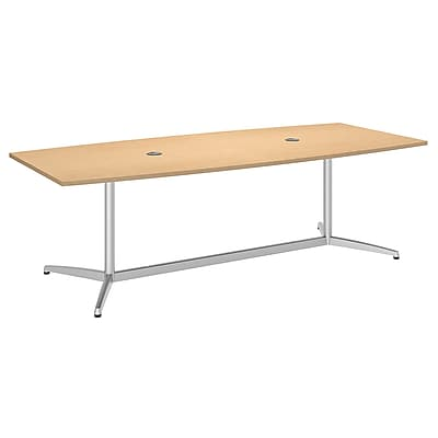 Bush Business 72L x 36W Boat Top Conference Table with Metal Base, Natural Maple