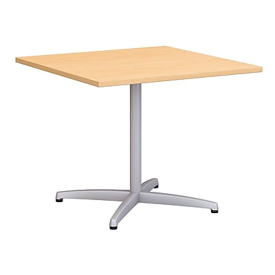Bush Business 36W Square Conference Table with Metal X Base, Natural Maple