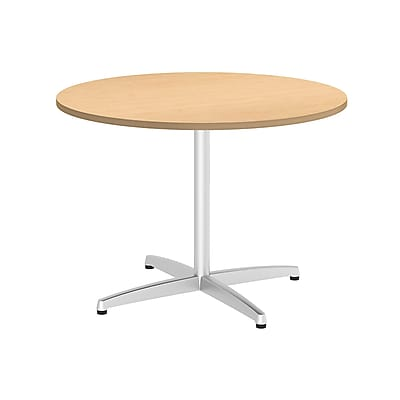 Bush Business 42W Round Conference Table with Metal X Base, Natural Maple