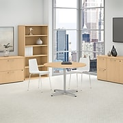 Bush Business Furniture 42W Round Conference Table with Metal X Base, Natural Maple