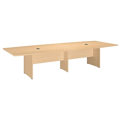 Bush Business Furniture 120W x 48D Boat Shaped Conference Table with Wood Base, Natural Maple (99TB12048ACK)