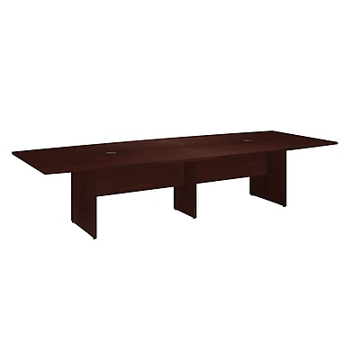 Bush Business Furniture 120W x 48D Boat Shaped Conference Table with Wood Base, Harvest Cherry, Installed (99TB12048CSKFA)