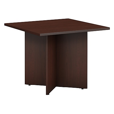 Bush Business Furniture 36W Square Conference Table with Wood Base, Harvest Cherry, Installed (99TB3636CSFA)