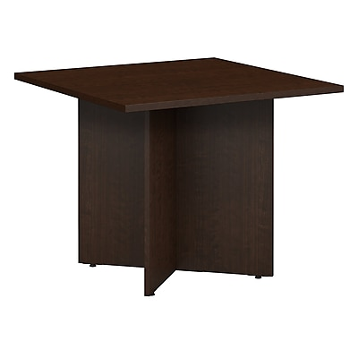 Bush Business 36W Square Conference Table with Wood Base, Mocha Cherry