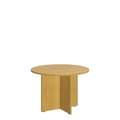 Bush Business 42W Round Conference Table with Wood Base, Modern Cherry, Installed