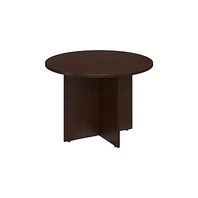 Bush Business 42W Round Conference Table with Wood Base, Mocha Cherry, Installed