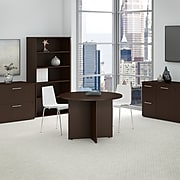 Bush Business Furniture 42W Round Conference Table with Wood Base, Mocha Cherry