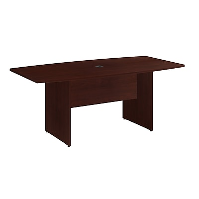 Bush Business Furniture 96W x 42D Boat Shaped Conference Table with Wood Base, Natural Maple, Installed (99TB9642ACKFA)