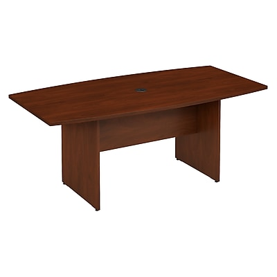 Bush Business Furniture 72W x 36D Boat Shaped Conference Table with Wood Base, Hansen Cherry, Installed (99TB7236HCFA)