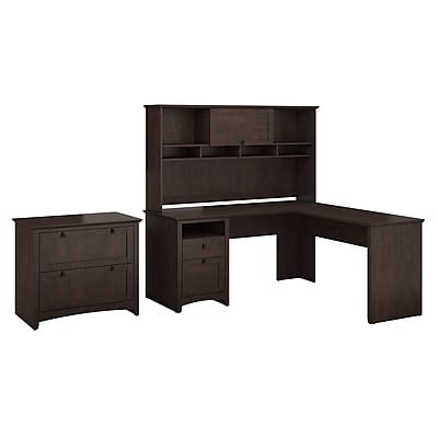 Bush Furniture Buena Vista L Shaped Desk with Hutch and Lateral File Cabinet, Madison Cherry (BUV005MSC)