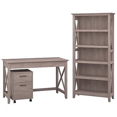 "Bush Furniture Key West 48""W Writing Desk with 2 Drawer Mobile Pedestal and 5 Shelf Bookcase, Washed Gray (KWS002WG)"