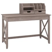 "Bush Furniture Key West 48""W Writing Desk with Desktop Organizers, Washed Gray (KWS005WG)"