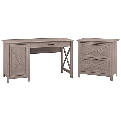 "Bush Furniture Key West 54""W Single Pedestal Desk with Lateral File, Washed Gray (KWS008WG)"