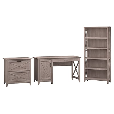 "Bush Furniture Key West 54""W Single Pedestal Desk with Lateral File and 5 Shelf Bookcase, Washed Gray (KWS009WG)"