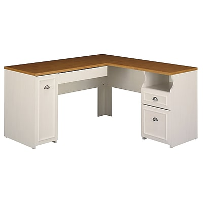 Bush Furniture Fairview L Shaped Desk, Antique White/Tea Maple (WC53230-03K)