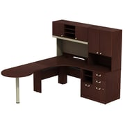 Bush Business Furniture Quantum Left Handed Peninsula L Desk with Hutch and Cabinet with 30W Hutch, Harvest Cherry (QUA005CSL)
