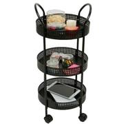 Mind Reader 3 Tier Round Kitchen Trolley, Black (3TCROUND-BLK)